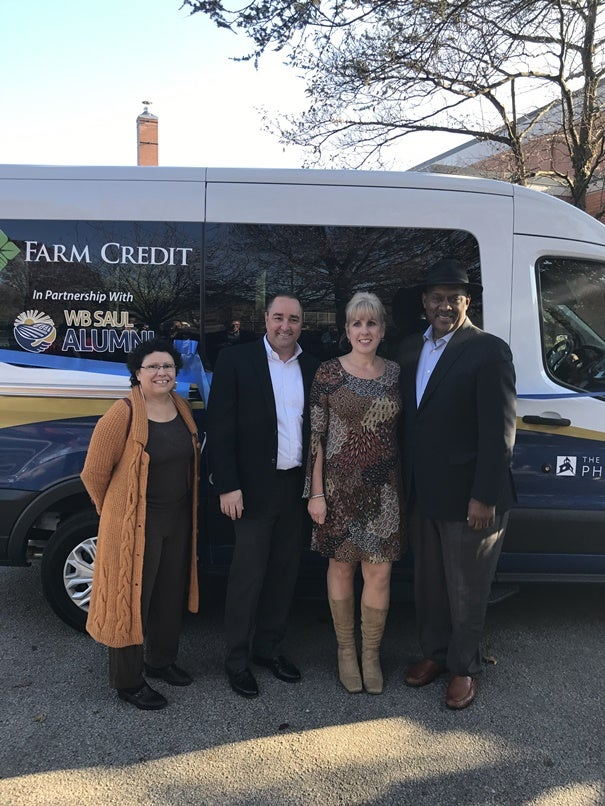 Pennsylvania State Rep. Pamela DeLissio, MidAtlantic Farm Credit CEO Tom Truitt, Barbara Strain of the W.B. Saul Alumni Association, and Congressman Dwight Evans gather to celebrate the donation of the vehicle!