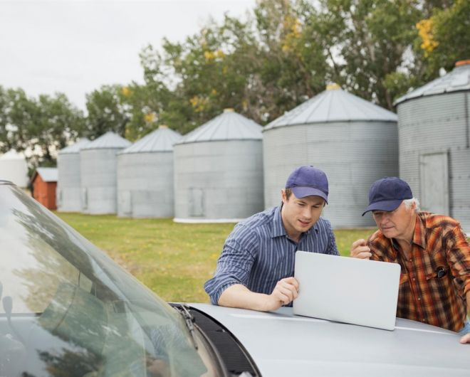Farmer mentoring another farmer